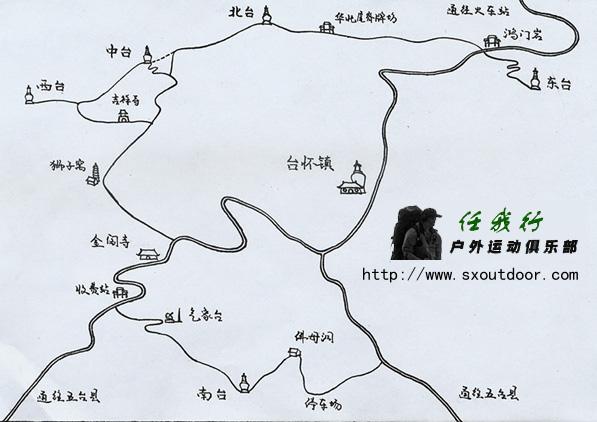 徒步大朝台手绘地图