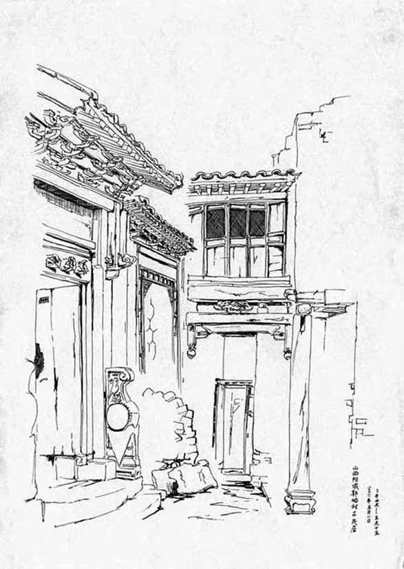 古村手绘鸟瞰图